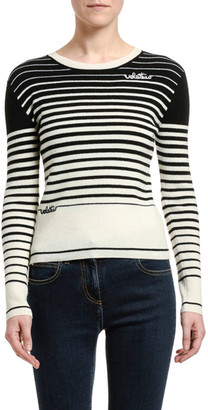 Valentino Striped Wool-Cashmere Crewneck Sweater