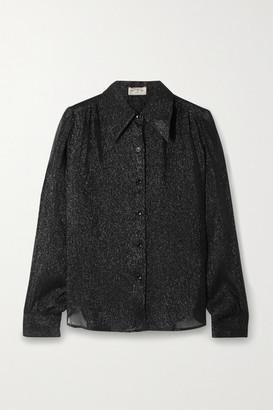 Saint Laurent Metallic Silk And Lurex-blend Crepon Shirt - Black