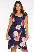 Quiz Curve Navy and Pink Floral Print Square Neck Midi Dress
