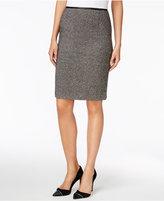 Calvin Klein Faux-Leather-Trim Tweed Pencil Skirt