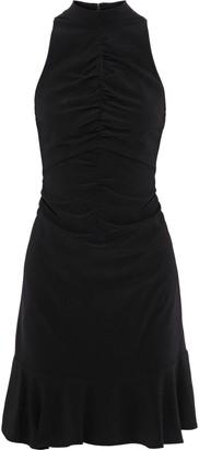 Halston Cutout Ruched Crepe Mini Dress