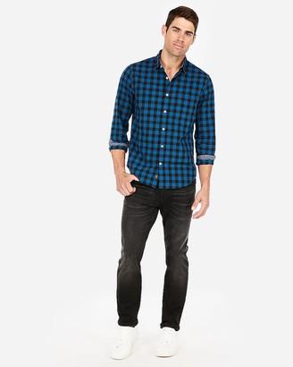 Express Slim Plaid Soft Wash Button Collar Shirt