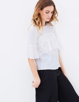 Miss Selfridge Lace Ruffle Front Tee