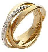 So Chic Jewels - 18k Gold Plated White Cubic Zirconia Russian (Three Ring) Wedding Band Ring - Size 6