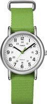 Timex Women's T2N835 Weekender Mid-Size Slip Thru Strap Nylon Green Watch