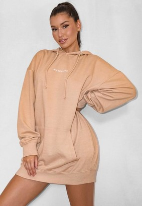 Missguided Camel Misguided Oversized Hoodie Dress