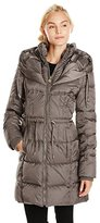 Betsey Johnson Women's Long Puffer Coat with Cinched Waist