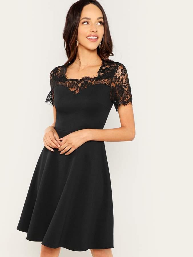 203f810e8b Lace Yoke Black Dress - ShopStyle