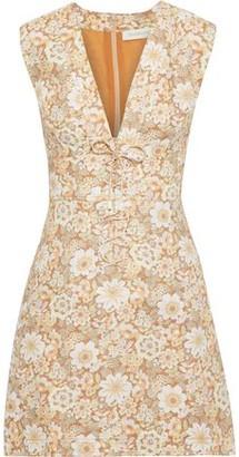 Zimmermann Zippy Lace-up Floral-print Linen Mini Dress