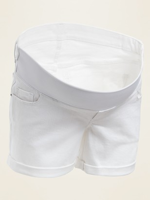 Old Navy Maternity Front Low-Panel Boyfriend White Jean Shorts -- 5-inch inseam