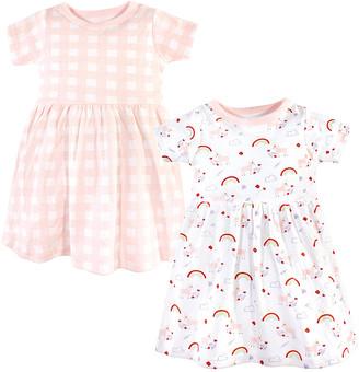 Luvable Friends Girls' Casual Dresses Unicorn - White & Pink Unicorn Rainbows A-Line Dress Set - Newborn, Infant, Toddler & Girls