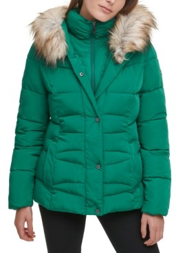 Calvin Klein Faux-Fur-Trim Hooded Puffer Coat, Created for Macy's