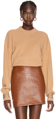 Alexander Wang Crystal Cuff Crew Neck Sweater in Camel | FWRD