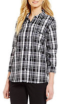 Allison Daley Y-Neck 3/4 Sleeve Plaid Button-Front Shirt