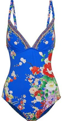 Camilla Playing Koi Crystal-embellished Floral-print Swimsuit