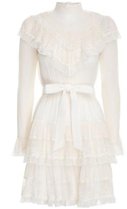 Zimmermann Glassy Frilled Lace Mini Dress