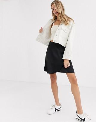 New Look satin wrap mini skirt in black