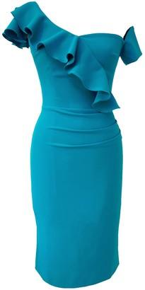 Calypso Dress Turquoise Frill Crepe