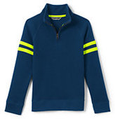 Classic Toddler Boys Quarter Zip Mock Neck Top-Neptune Blue