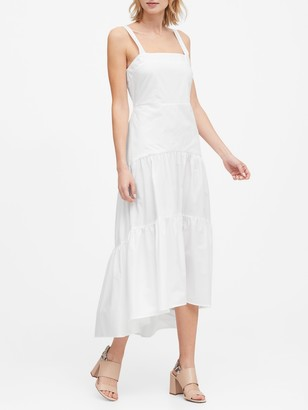 Banana Republic Petite Poplin Tiered Maxi Dress