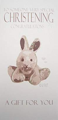 WHITE COTTON CARDS WBW15 To Someone Very Special Christening A Gift For You, Silver Bunny Money Wallet