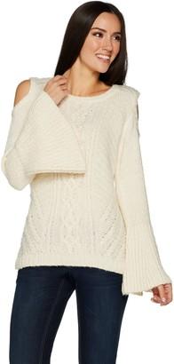 G.I.L.I. Got It Love It G.I.L.I. Cold Shoulder Cable Knit Sweater