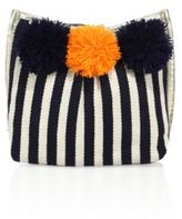 JADEtribe Valerie Striped Pom-Pom Cosmetic Case