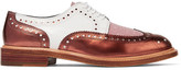 Robert Clergerie Roeltm Glittered And Metallic Leather Brogues - Copper