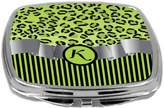 Rikki Knight Compact Mirror, Letter k Initial Lime Green Leopard Stripes Monogram