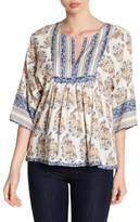 Lucky Brand Mixed Print Boho Blouse