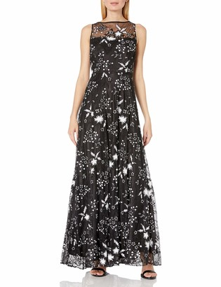 Tahari by Arthur S. Levine Women's Sleevless Illusion Long Lace Gown