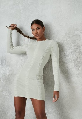 Missguided Sage Ruched Front High Neck Mini Dress
