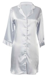 Cathy's Concepts Personalized Silver Satin Night Shirt in S/M