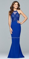Faviana Sleeveless Halter Embroidered Crepe Evening Dress