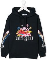 MSGM Kids sequinned logo hoodie
