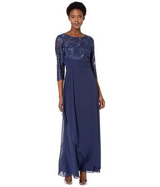 Alex Evenings Long A-Line Dress with Embroidered Bodice