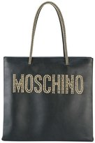 Moschino studded logo shopper tote - women - Leather/metal - One Size