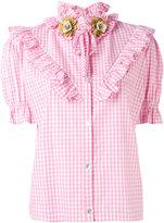 Antonio Marras ruffled checked shortsleeved shirt - women - Cotton - 38