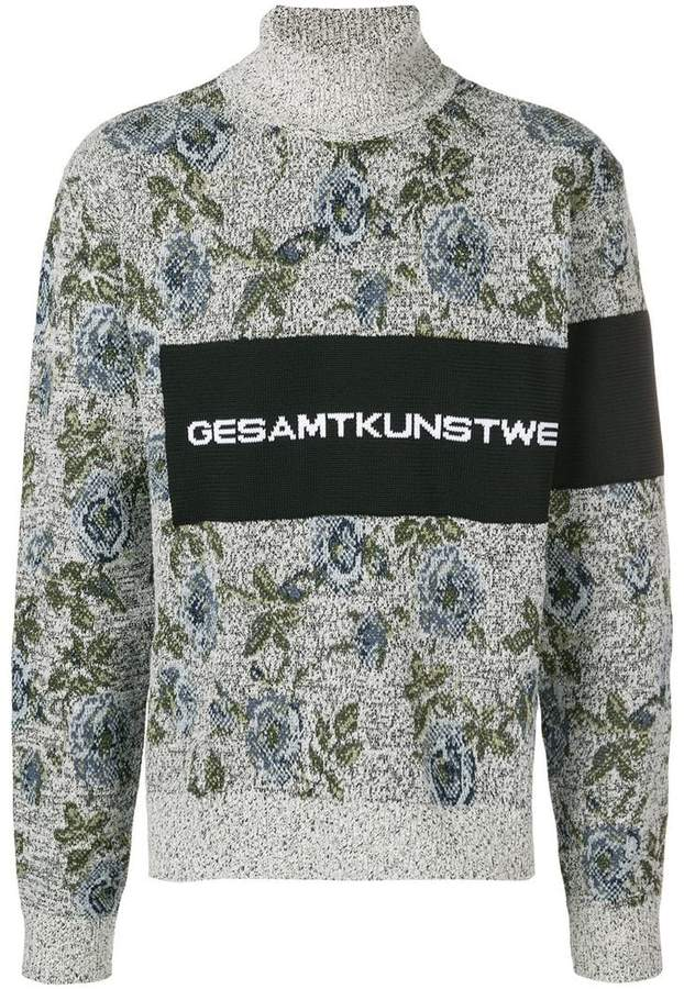 Oamc floral turtle neck jumper