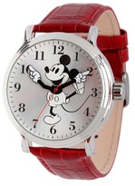 Disney Men's Mickey Mouse Shinny Silver Vintage Articulating Watch with Alloy Case - Red