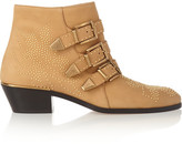 Chloé Susanna Studded Textured-leather Ankle Boots - Camel