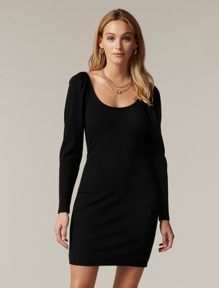 Forever New Dallas Scoop-Neck Rib Mini Dress - Black - 10