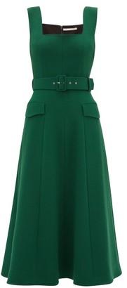 Emilia Wickstead Petra Belted Wool-crepe Midi Dress - Womens - Dark Green
