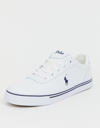 Polo Ralph Lauren leather hanford trainers in white with player logo