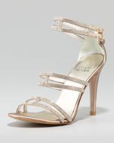 Stuart Weitzman Crystal Strappy Sandal, Beige