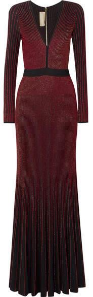 Elie Saab Metallic Ribbed-knit Gown - Burgundy