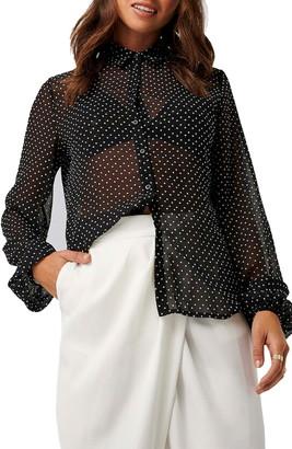 NA-KD Sheer Polka Dot Shirt