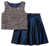 My Michelle mymichelle Embellished Boucle Top & Metallic Skirt Set (Big Girls)