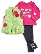 Kids Headquarters Girls 2-6x Puffer Vest, Graphic Tee and Leggings Set