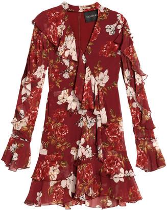 Nicholas Wrap-effect Ruffled Floral-print Silk Crepe De Chine Mini Dress